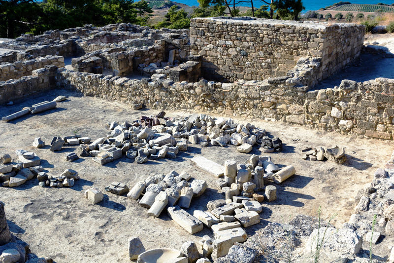 Ruínas antigas de Kamiros - Rodes foto de stock