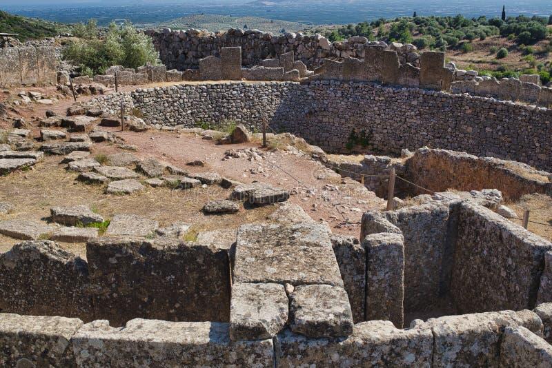 Ruínas antigas de Mycenae, Grécia imagem de stock royalty free