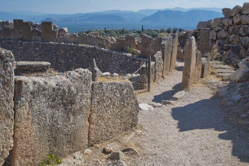Ruínas antigas de Mycenae, Grécia imagens de stock royalty free