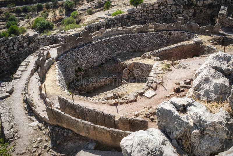Ruínas antigas de Mycenae, Grécia imagens de stock
