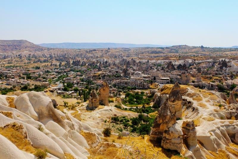 Ruínas antigas do panorama de Goreme em Cappadocia, Turquia fotografia de stock royalty free