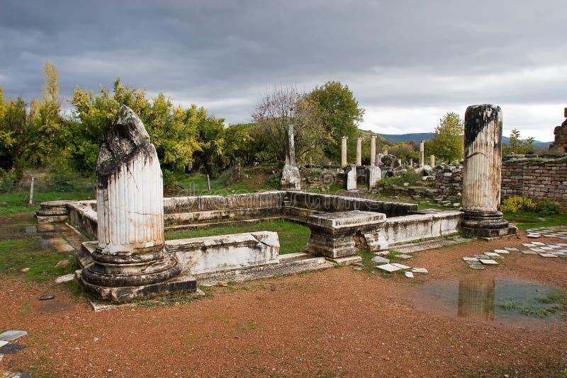 Ruínas antigas dos Aphrodisias, Turquia egeia fotos de stock royalty free