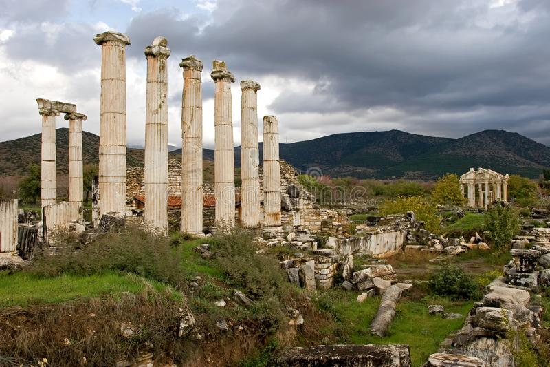 Ruínas antigas dos Aphrodisias, Turquia egeia fotografia de stock