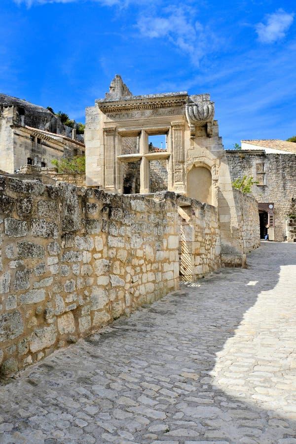 Ruínas antigas em Les Baux de Provence, França imagem de stock