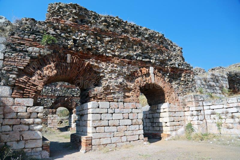 Ruínas antigas em Sardes Turquia fotografia de stock