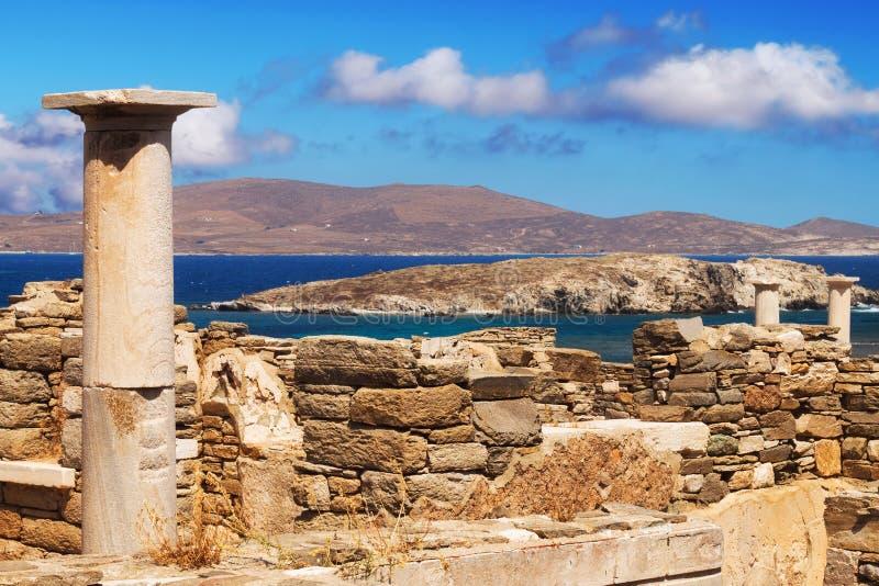 Ruínas antigas na ilha de Delos foto de stock