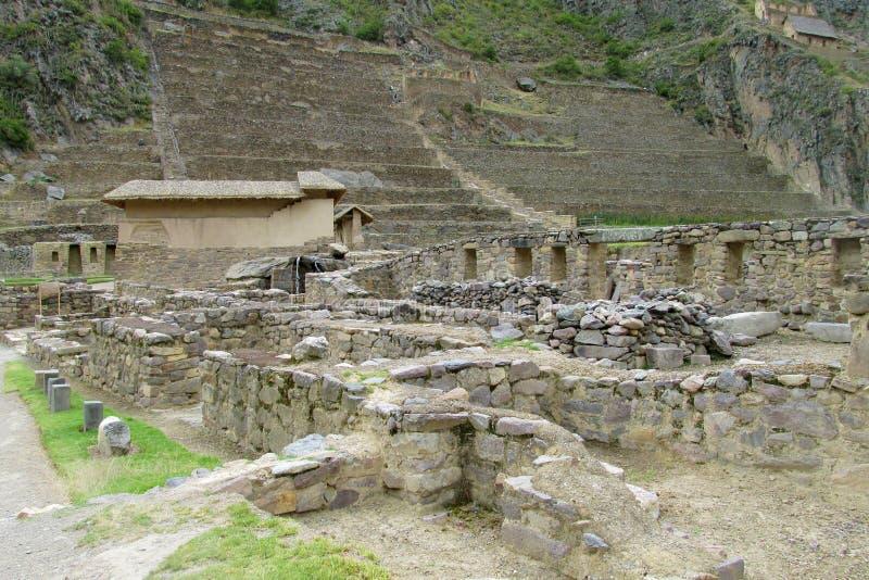 Ruínas arqueológicos Ollantaytambo do Inca antigo perto de Cusco, Peru fotografia de stock royalty free