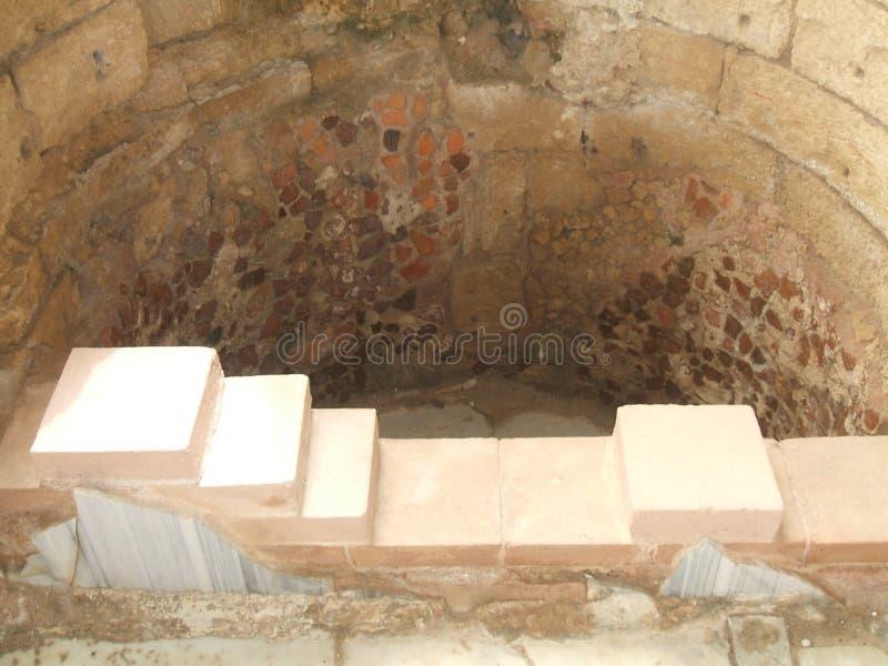 Ruínas, banho, palácio do rei Herod, Masada, Israel fotografia de stock