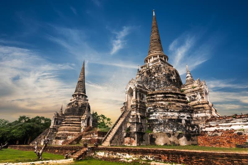 Ruínas budistas antigas do pagode Ayutthaya, Tailândia imagens de stock