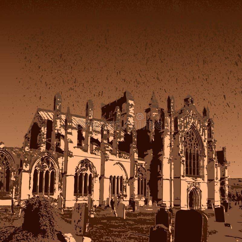 Ruínas da abadia da melrose ilustração royalty free