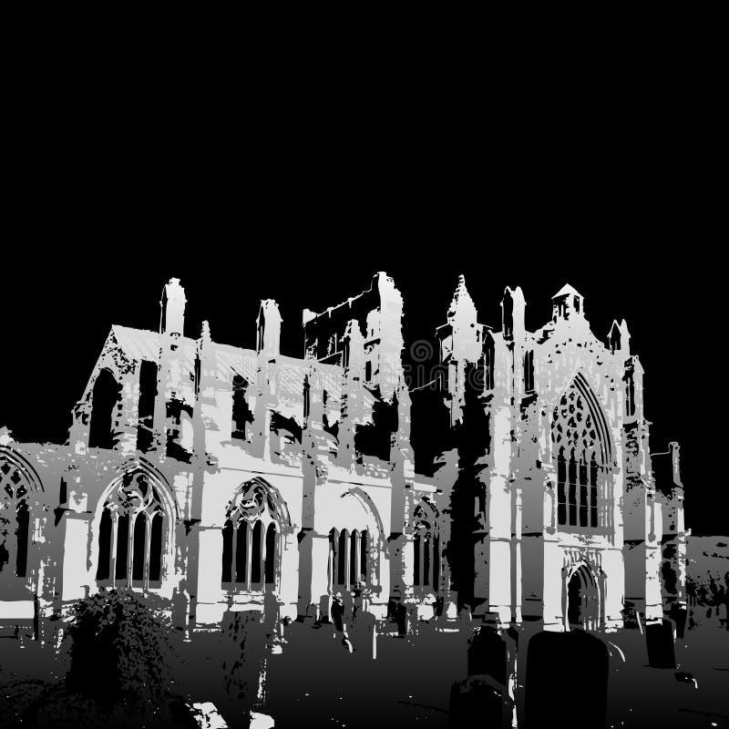 Ruínas da abadia da melrose ilustração stock
