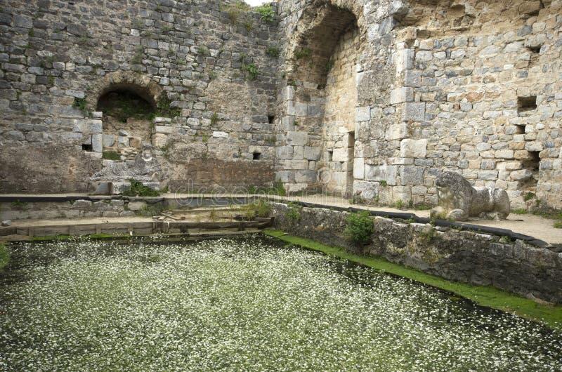 Ruínas da associação antiga do banho de Fausta na cidade antiga de Miletus, Turquia imagem de stock