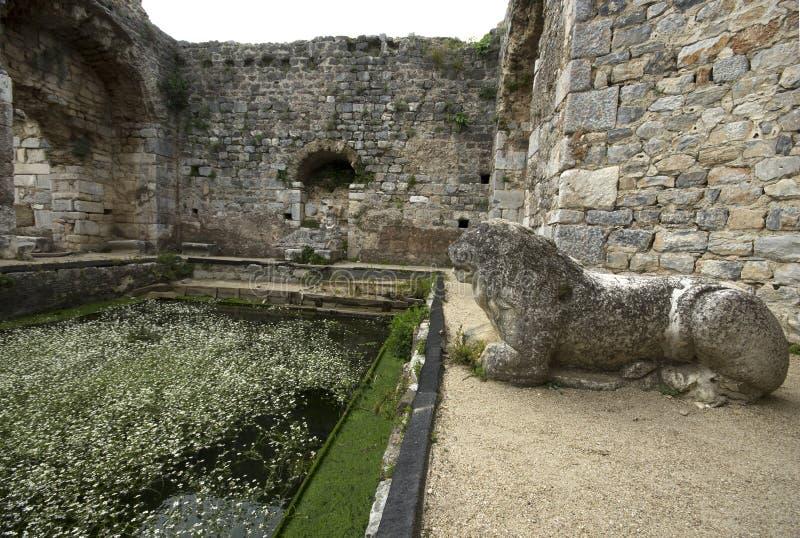 Ruínas da associação do banho de Fausta e da escultura antigas do leão na cidade antiga de Miletus, Turquia imagem de stock