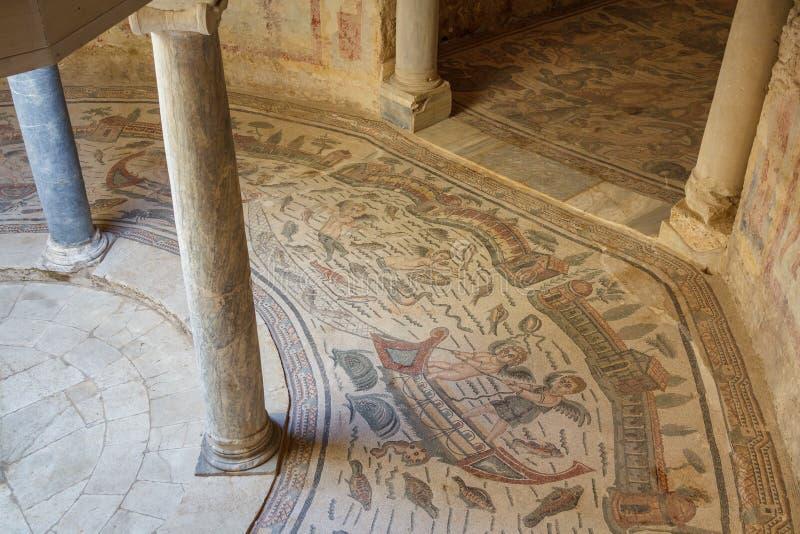 Ruínas da casa de campo antiga Romana del Casale, ilha de Sicília fotos de stock