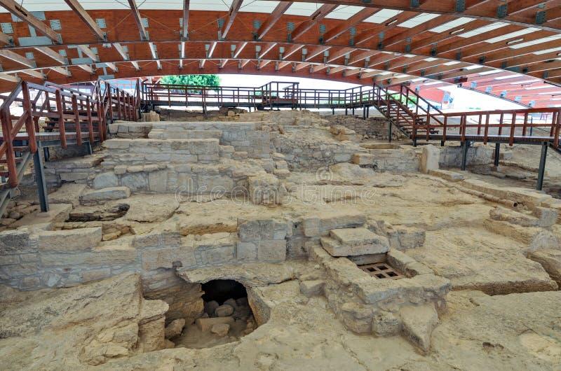 Ruínas da casa de Eustolios em Kourion em Chipre fotos de stock royalty free