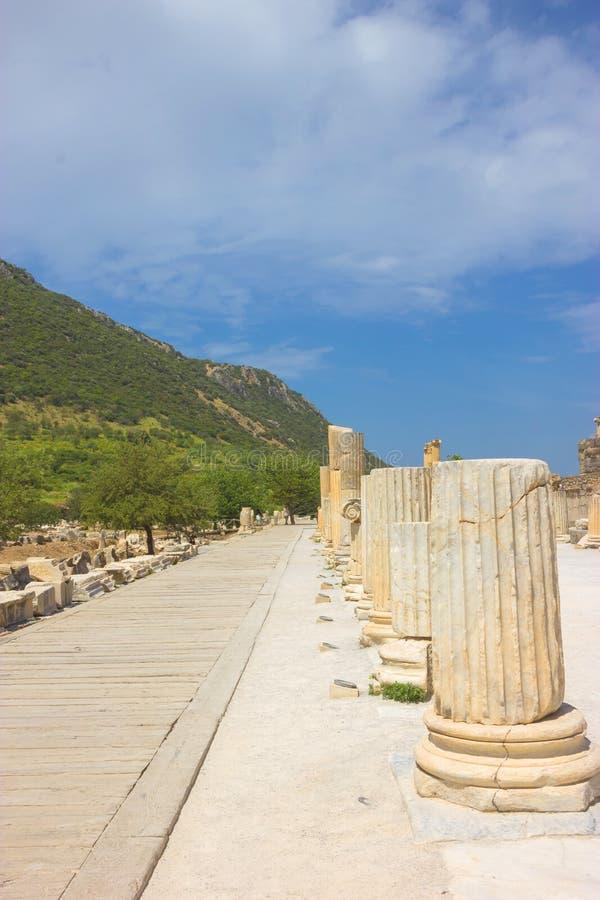 Ruínas da cidade antiga de Ephesus em Turquia fotos de stock royalty free