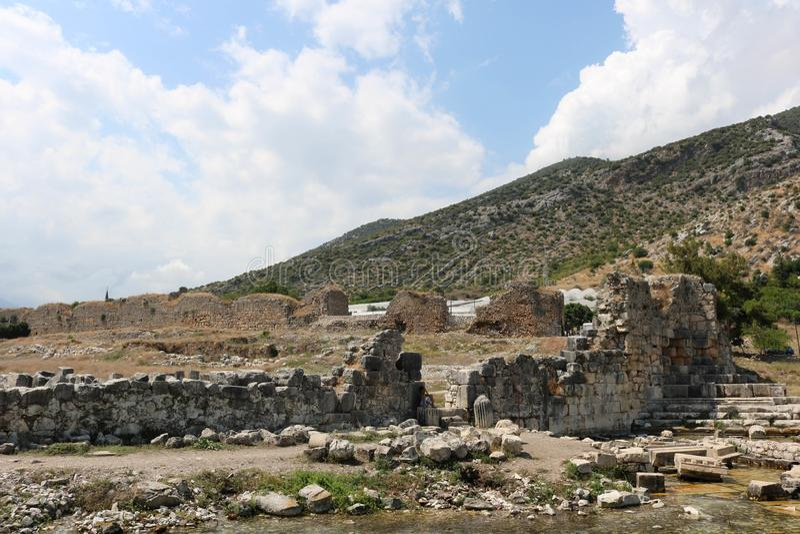 Ruínas da cidade antiga de Lymira perto do finike, Antalya Turquia imagem de stock royalty free