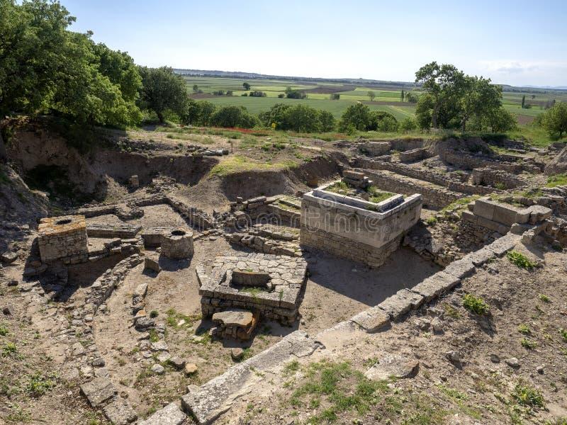 Ruínas da cidade antiga de Troia, Canakkale Dardanelos/Turquia fotos de stock