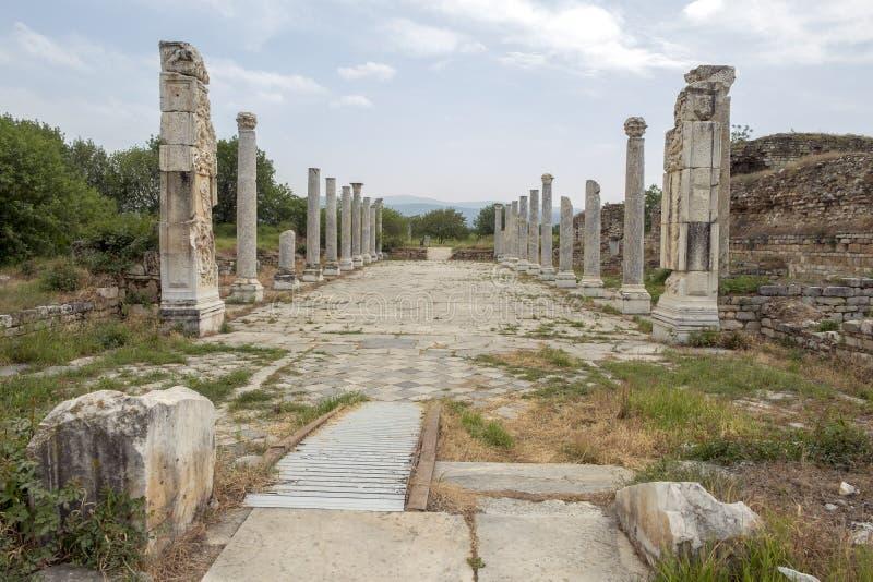 Ruínas da cidade antiga dos aphrodisias Roman Baths Ruins, Aydin, Turquia imagem de stock royalty free