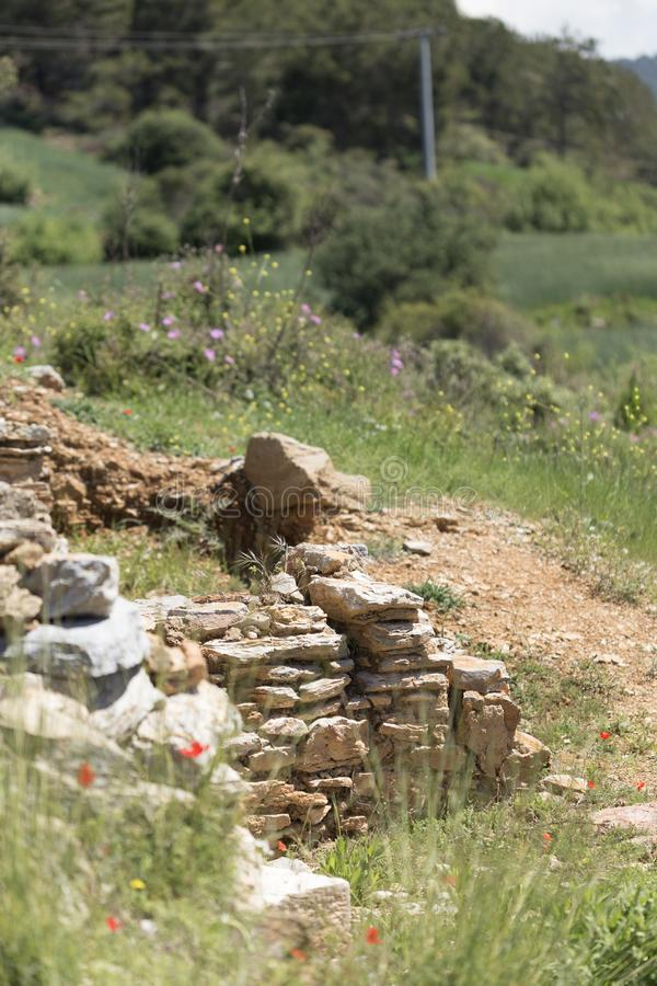 Ruínas da cidade antiga na mola fotografia de stock