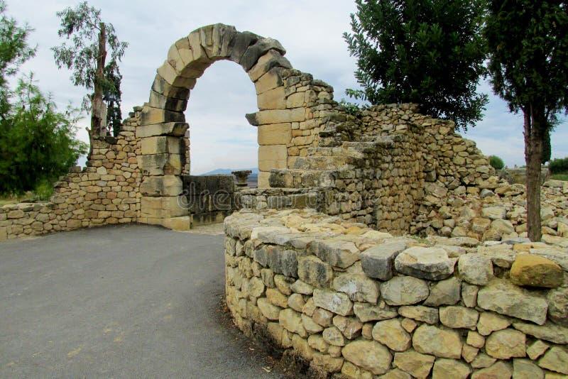 Ruínas da cidade antiga, Volubilis, Marrocos fotografia de stock
