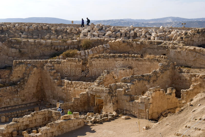 Ruínas da fortaleza de Herod, o grande, Herodium, Palestina imagem de stock royalty free
