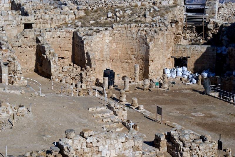 Ruínas da fortaleza de Herod, o grande, Herodium, Palestina foto de stock royalty free