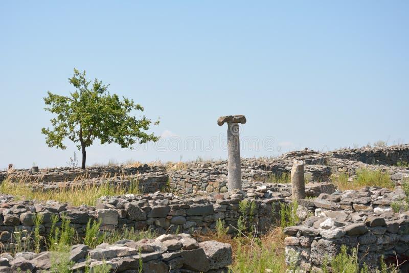Ruínas da fortaleza de Histria, Dobrogea, Romênia fotos de stock