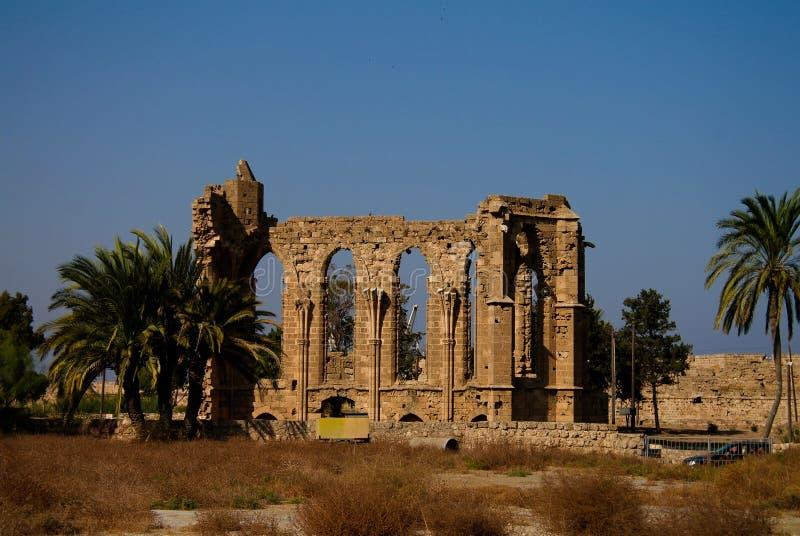 Ruínas da igreja de St George dos latins em Famagusta, Chipre imagem de stock royalty free