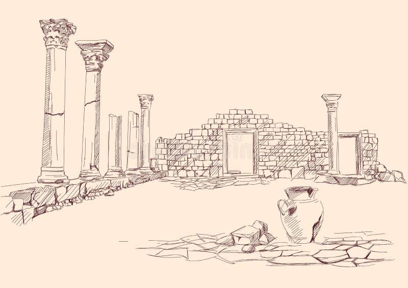 Ruínas Da Mão Da Arqueologia Do Templo Desenhada Imagem de Stock