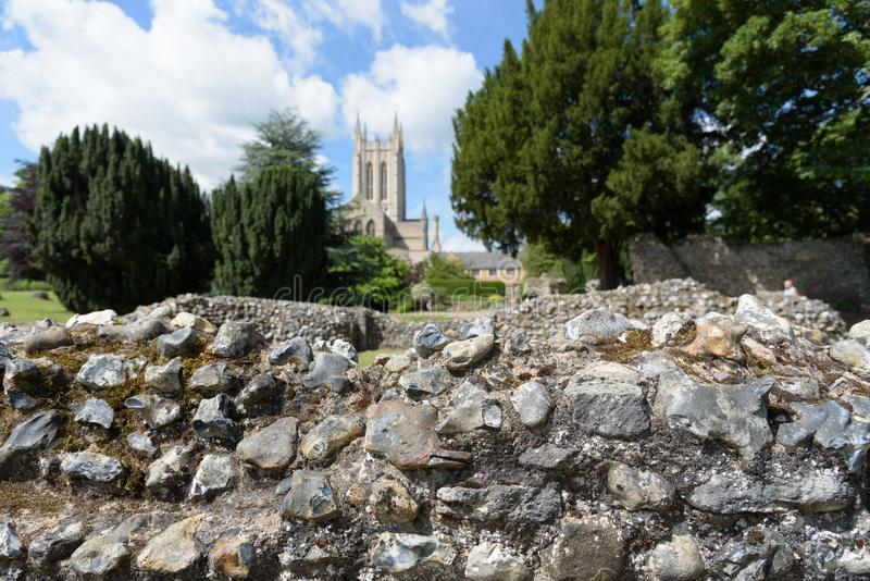 Ruínas da parede da abadia no foco com St Edmundsbury Catherdral imagens de stock royalty free