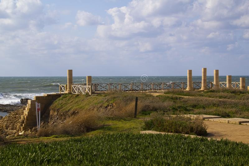 Ruínas da porta e da cidade em Caesarea.Israel fotos de stock