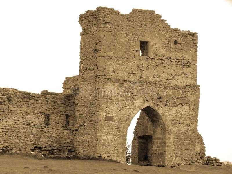 ruínas da via principal velha Europa Kremenets do castelo imagem de stock royalty free