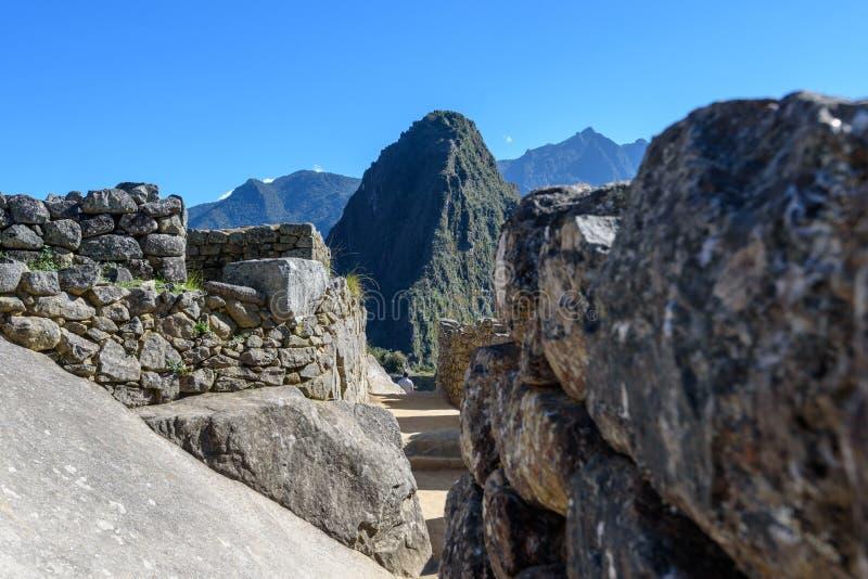 Ruínas das paredes em Machu Picchu fotos de stock