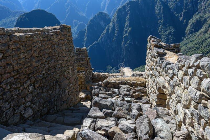 Ruínas das paredes em Machu Picchu fotografia de stock