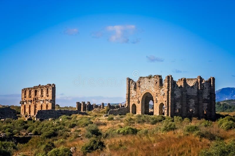 Ruínas de Aspendos em Turquia fotografia de stock