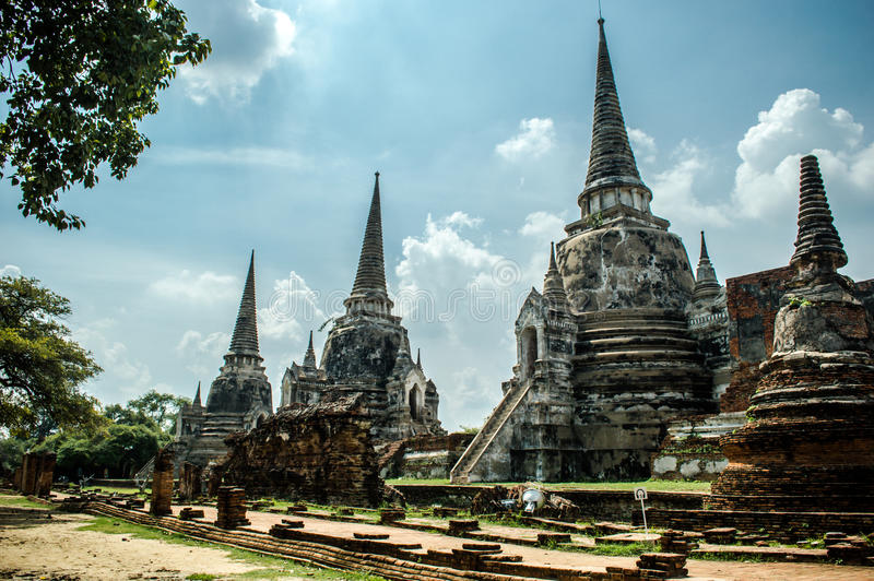 Ruínas de Ayutthaya Tailândia fotografia de stock