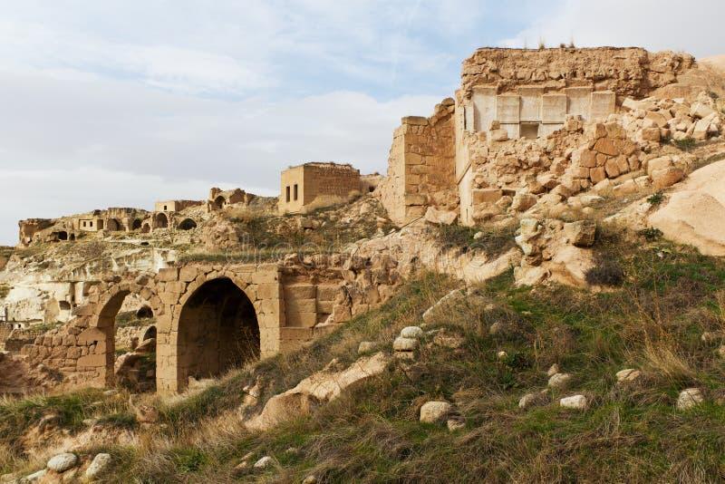 Ruínas de Cavusin em Cappadocia, Turquia fotografia de stock