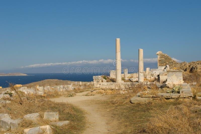 Ruínas de Delos, Greece fotografia de stock royalty free