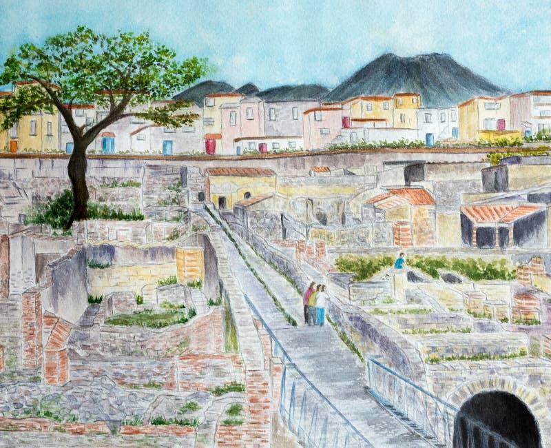 Ruínas de Herculaneum ilustração do vetor