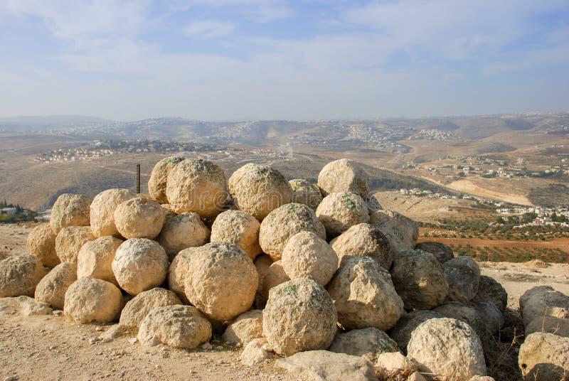 Ruínas de Herodium ou de Herodion, a fortaleza de Herod o grande foto de stock
