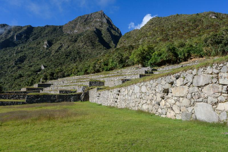 Ruínas de Machu Picchu em Sunny Day brilhante fotografia de stock