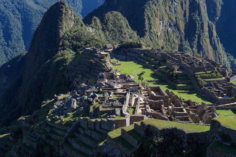 Ruínas de Machu Picchu em Sunny Day brilhante imagens de stock royalty free