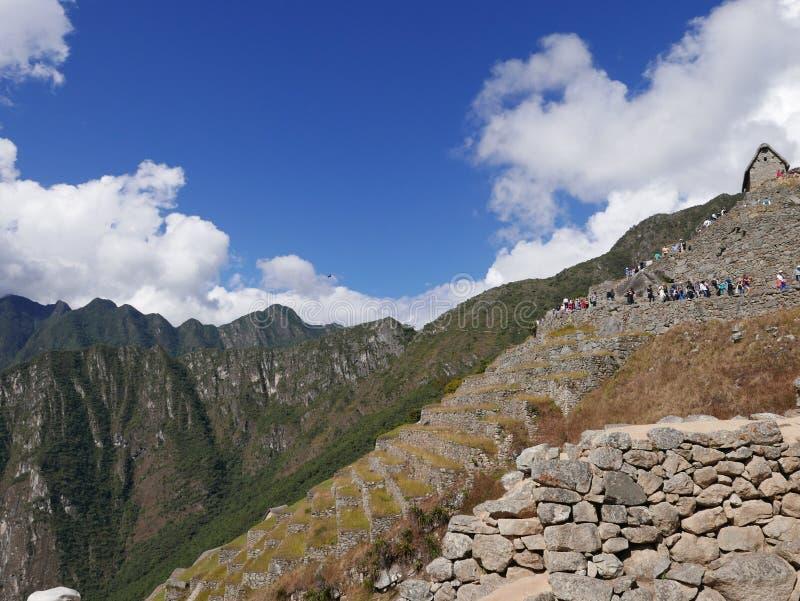 Ruínas de Machu Picchu Inca Civilization e etapas, Peru fotografia de stock royalty free