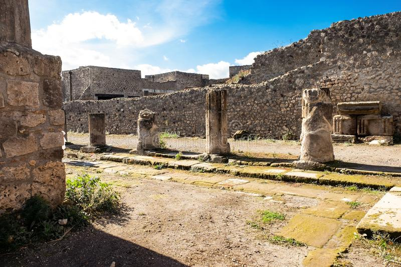 Ruínas de Pompeii antigo, cidade romana destruída pelo Vesúvio imagens de stock royalty free