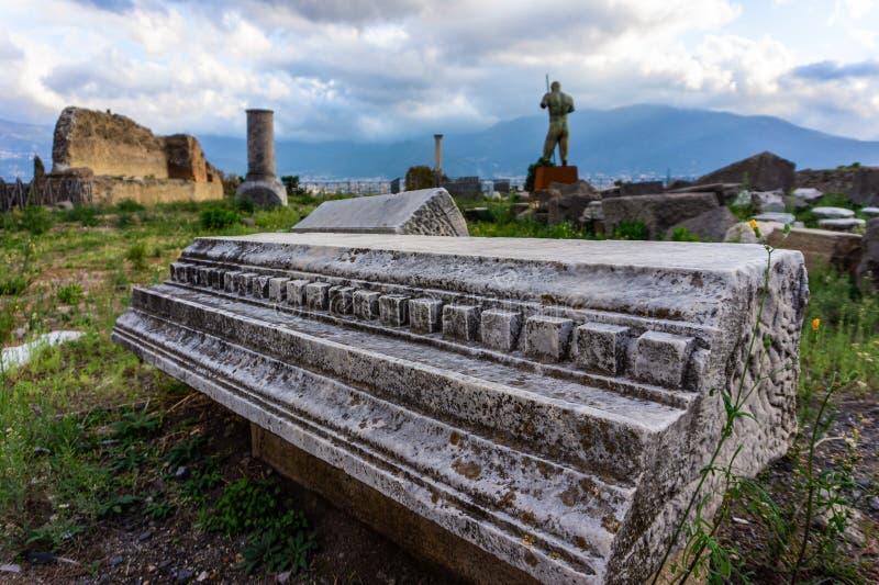 Ruínas de Pompeii antigo, cidade romana destruída pelo vulcão do Vesúvio imagens de stock royalty free