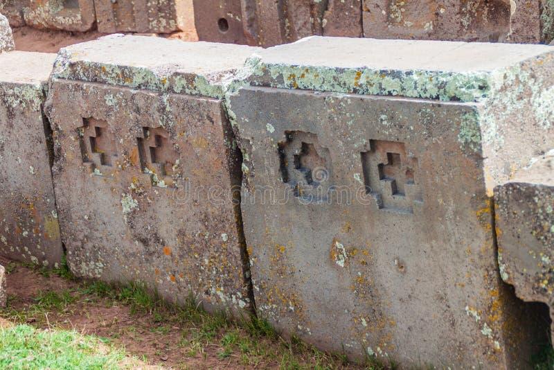 Ruínas de Pumapunku em Bolívia fotos de stock royalty free