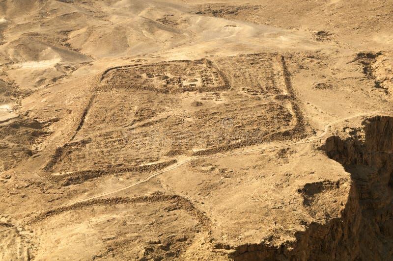 Ruínas de Roman Base Camp em Masada imagem de stock