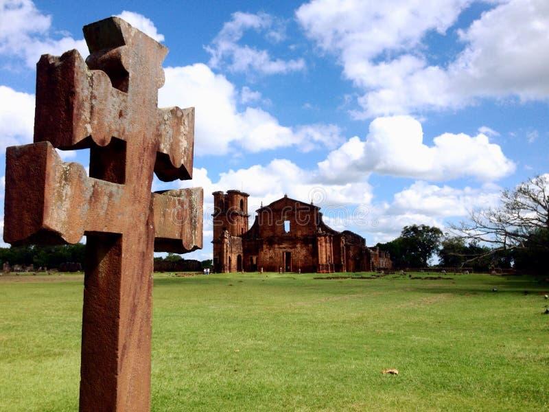 Ruínas de São Miguel - ao sul de Brasil imagem de stock royalty free