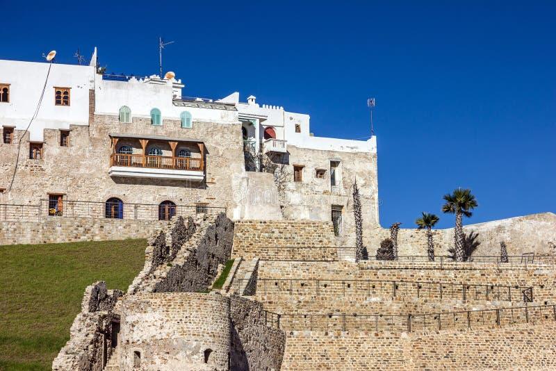 Ruínas de Tanger em Marrocos, Medina, fortaleza antiga na cidade velha fotos de stock royalty free